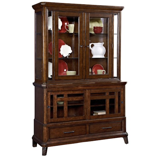 Broyhill Furniture Estes Park China Cabinet with 4 Doors and Lighted Hutch