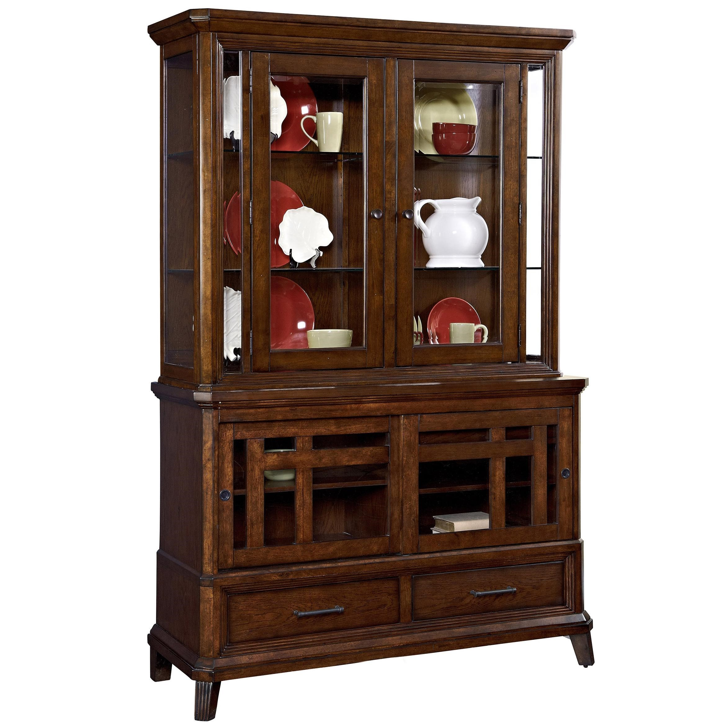 Marvelous Broyhill Furniture Estes Park China Cabinet With 4 Doors And Lighted Hutch