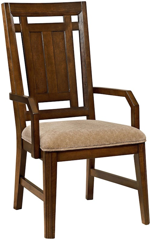 Broyhill Furniture Estes Park Upholstered Seat Arm Chair with Pierced Back