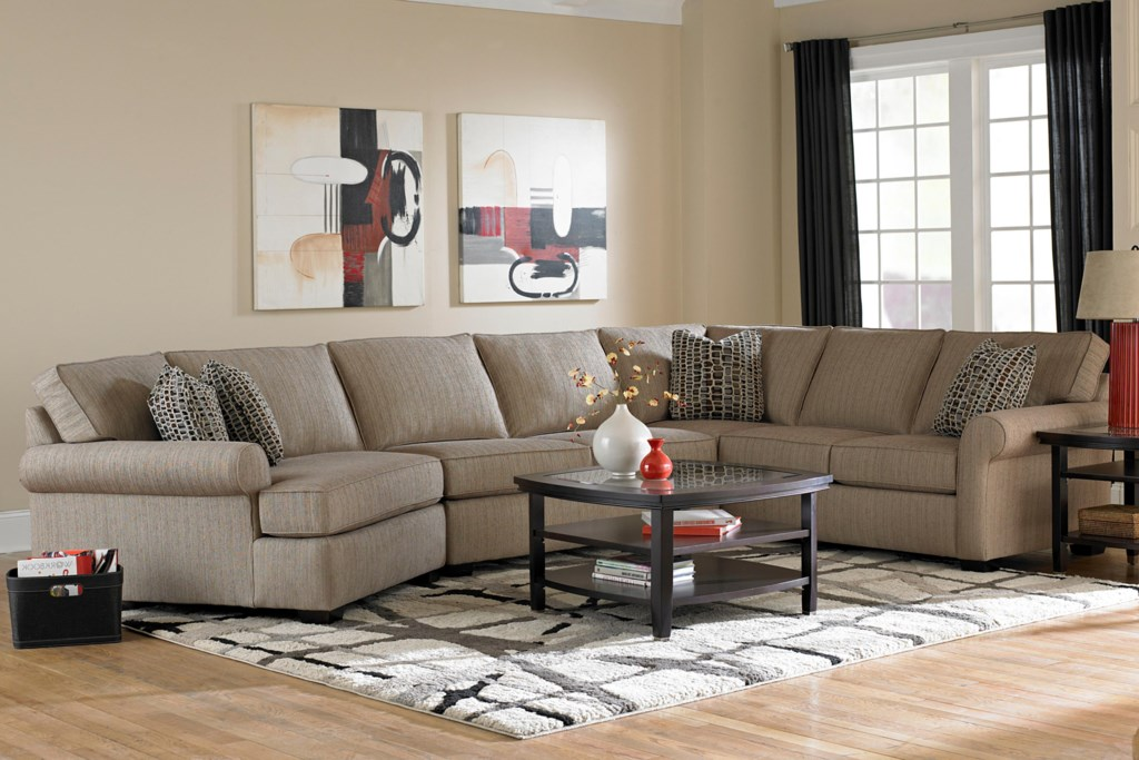 Broyhill Furniture Ethan Transitional Sectional Sofa With Left  ~ Sectional Sofa With Cuddler