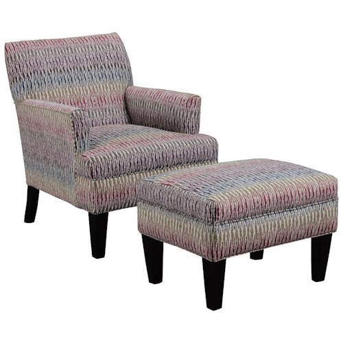 Broyhill Furniture Evie Transitional Chair and Ottoman Set with Flared Arms and Tapered Wood Legs