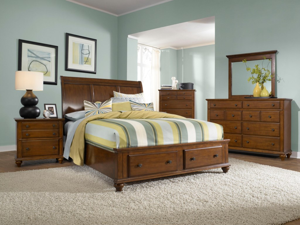 Dresser and Mirror Shown with Sleigh Headboard and Storage Footboard Bed, Chest, and Night Stand