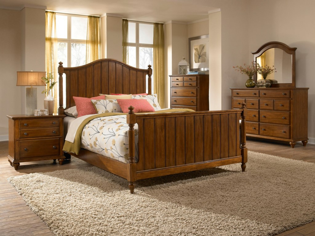 Dresser Shown with Chest, Mirror, Panel Headboard and Footboard Bed, and Night Stand