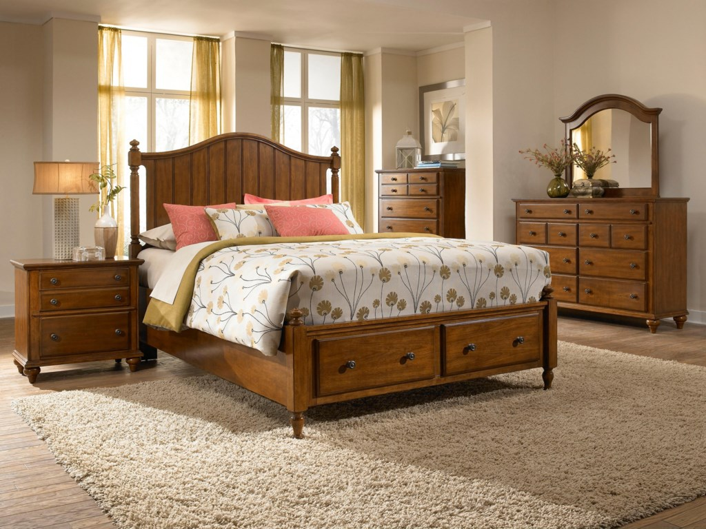 Dresser Shown with Chest, Mirror, Panel Headboard and Storage Footboard Bed, and Night Stand