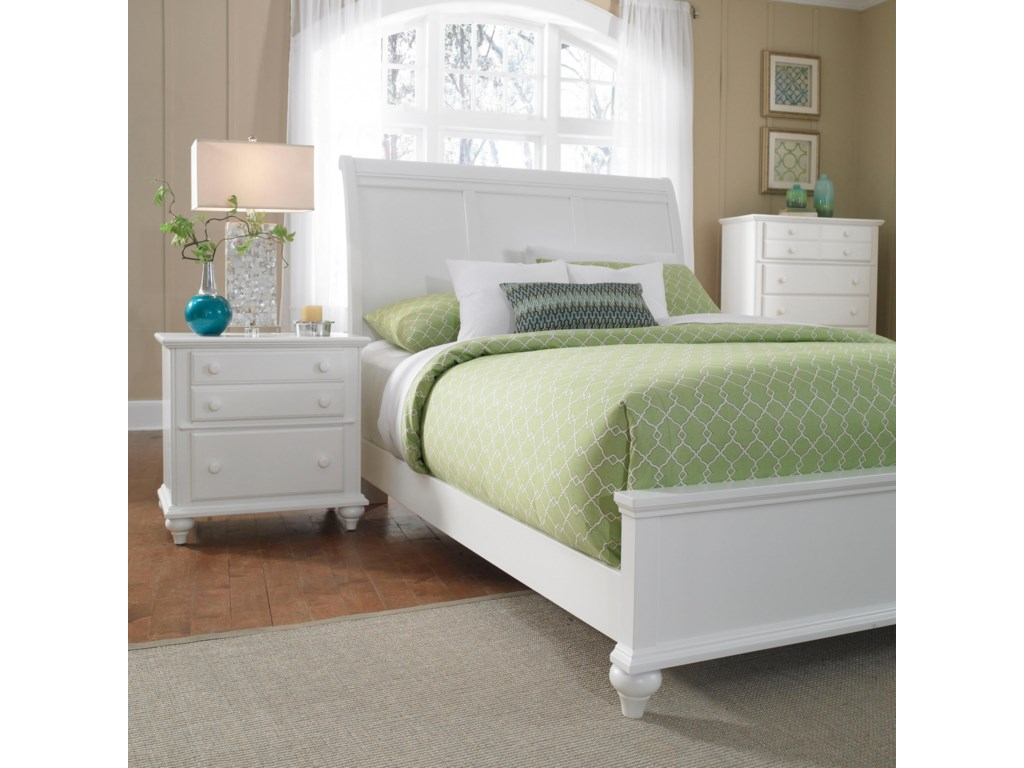 Night Stand Shown with Sleigh Headboard and Low Rise Footboard Bed, and Chest