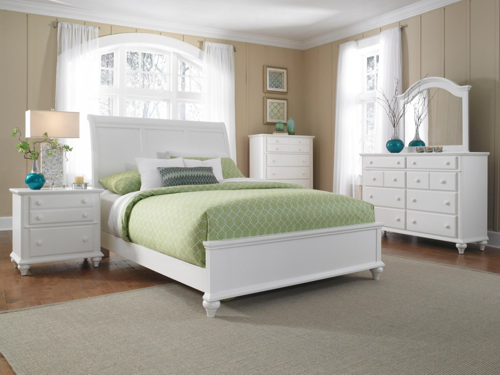 Night Stand Shown with Sleigh Headboard and Low Rise Footboard Bed, Chest, Mirror, and Dresser