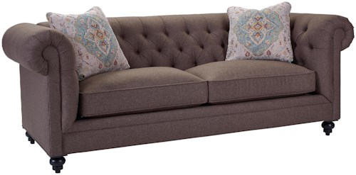 Broyhill Furniture Heath Traditional Chesterfield Sofa with Rolled Arms