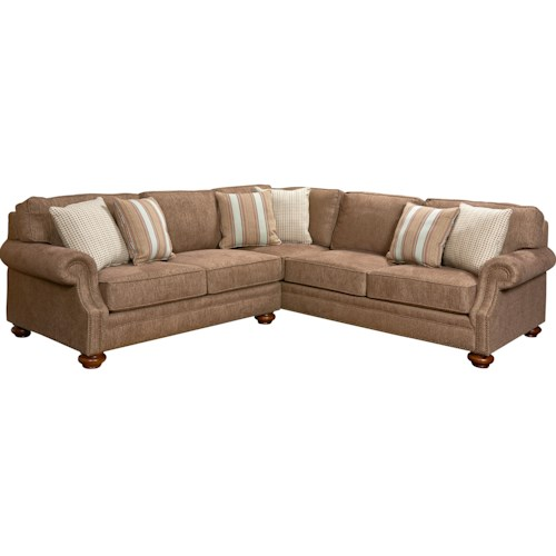 Broyhill Furniture Heuer Traditional Sectional Sofa with Nail Head Trim