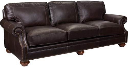 Broyhill Furniture Heuer Traditional Sofa with Rolled Arms and Turned Wood Feet