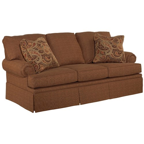 Broyhill Furniture Jenna Full IREST Sleeper Sofa with Rolled Arms and Skirted Base