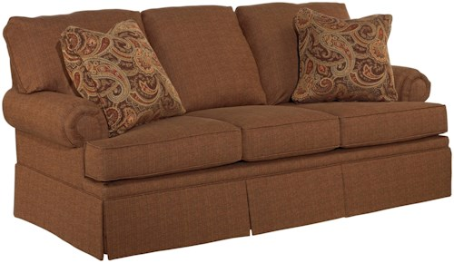 Broyhill Furniture Jenna Full Air Dream Sleeper with Rolled Arms and Skirted Base