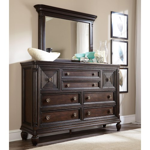 Broyhill Furniture Jessa Chesser and Mirror Combo with Matching Detailed Pillars