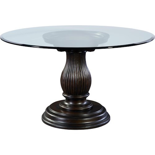 Broyhill Furniture Jessa Round Glass Dining Table with Adjustable Base