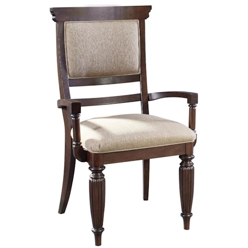 Broyhill Furniture Jessa Upholstered Seat and Back Arm Chair with Turned Legs