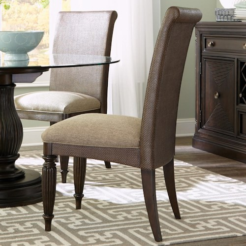 Broyhill Furniture Jessa Woven Upholstered Seat Side Chair with Turned Legs