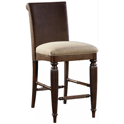 Broyhill Furniture Jessa Woven Upholstered Seat Counter Stool with Turned Legs and Stretchers