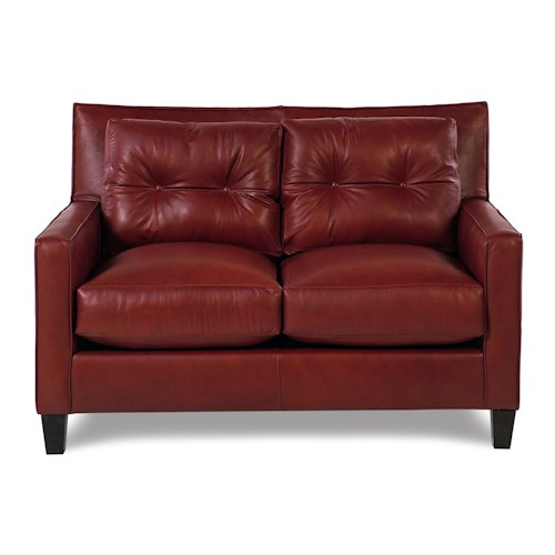 Broyhill Furniture Affinity Modern Tufted Leather Loveseat