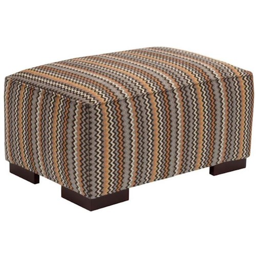 Broyhill Furniture Josie Contemporary Ottoman with Wide Wood Block Feet