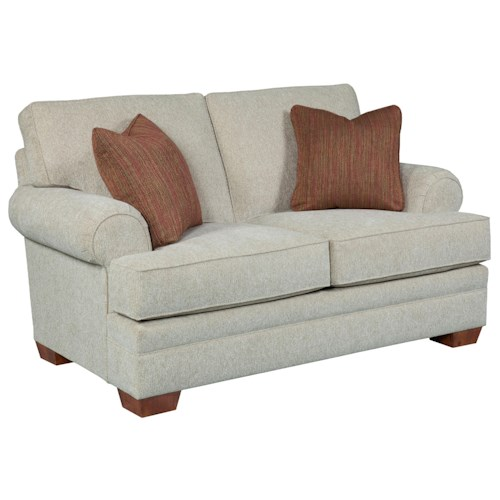 Broyhill Furniture Landon Transitional Stationary Loveseat with Rolled Sock Arms