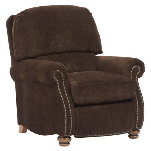 Broyhill Furniture Laramie Recliner with Turned Wood Feet and Nail Head Trim