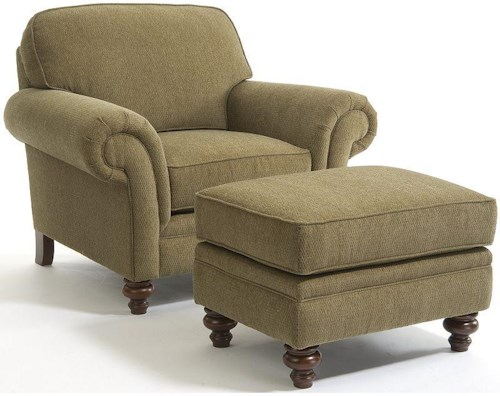 Broyhill Furniture Larissa Traditional Stationary Chair and Ottoman with Turned Wood Legs