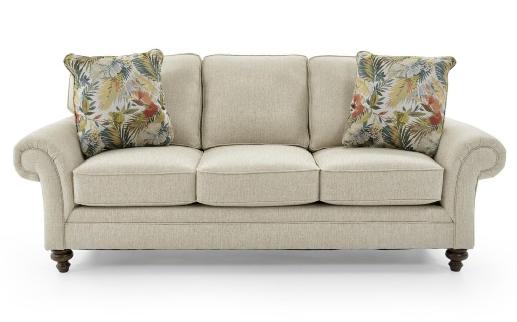Broyhill Furniture Larissa Upholstered Stationary Sofa with Rolled