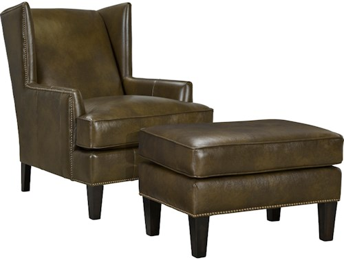 Broyhill Furniture Lauren Upholstered Wing Chair & Ottoman Set with Brass Nailhead Trim