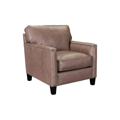 Broyhill Furniture Lawson Contemporary Chair with Track Arms and Nailhead Trim