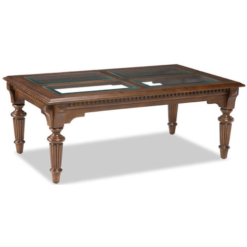 Broyhill Furniture Lyla Rectangle Cocktail Table with Beveled Glass Insert