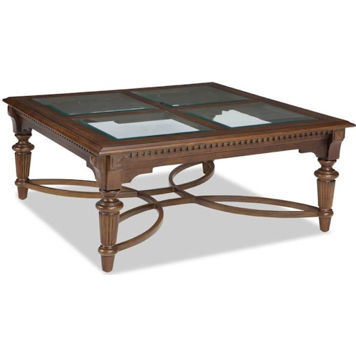 Broyhill Furniture Lyla Square Cocktail Table with Beveled Glass Top