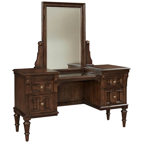 Broyhill Furniture Lyla Vanity and Mirror Set with Stone Top