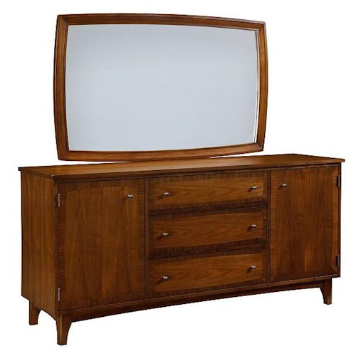 Broyhill Furniture Mardella 2 Door Dresser with 3 Drawers and Jewelry Tray + Landscape Mirror