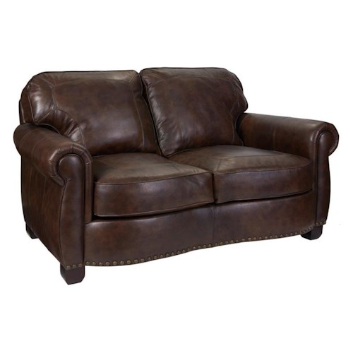 Broyhill Furniture New Vintage Traditional Loveseat with Nail Head Trim
