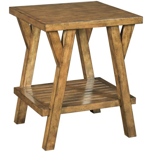 Broyhill Furniture New Vintage Splay Leg End Table with Shelf