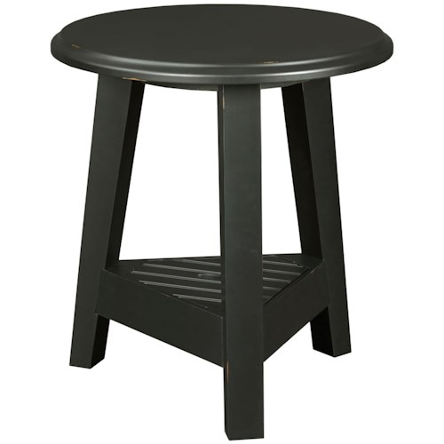 Broyhill Furniture New Vintage Round Lamp Table with Lift Lid Shelf