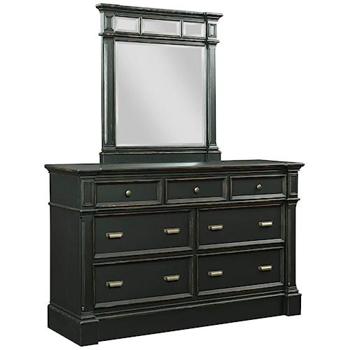 Broyhill Furniture New Vintage 7-Drawer Dresser and Mirror Set