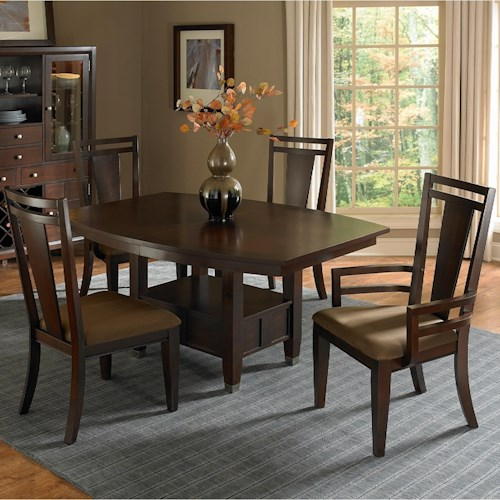 Broyhill Furniture Northern Lights 5 Piece Adjustable Height Table and Upholstered Chair Set