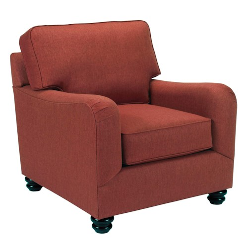 Broyhill Furniture Parker Traditional Chair with English Arms and Turned Feet