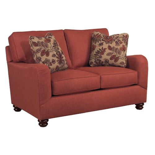Broyhill Furniture Parker Traditional Loveseat with English Arms and Turned Wood Feet