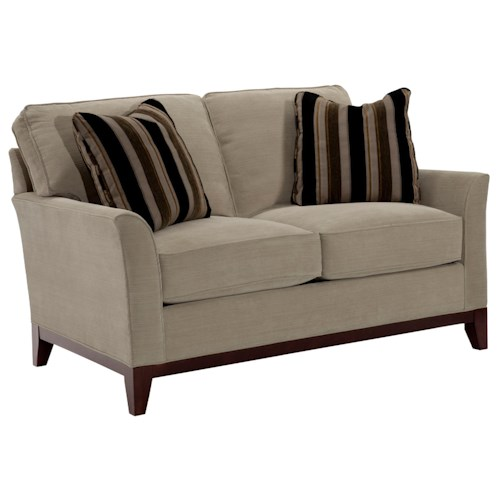 Broyhill Furniture Perspectives Contemporary Stationary Loveseat with Flare Tapered Arms