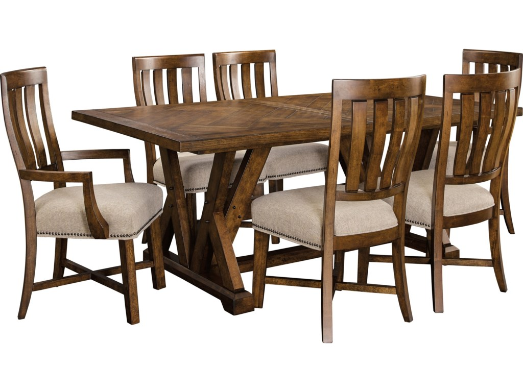 Broyhill Furniture Pieceworks Rustic 7 Piece Trestle Table And Upholstered Seat Chair Set