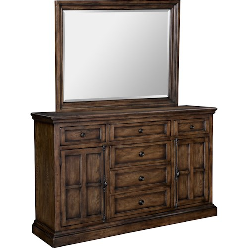 Broyhill Furniture Pike Place Grand Dresser and Beveled Mirror Combo