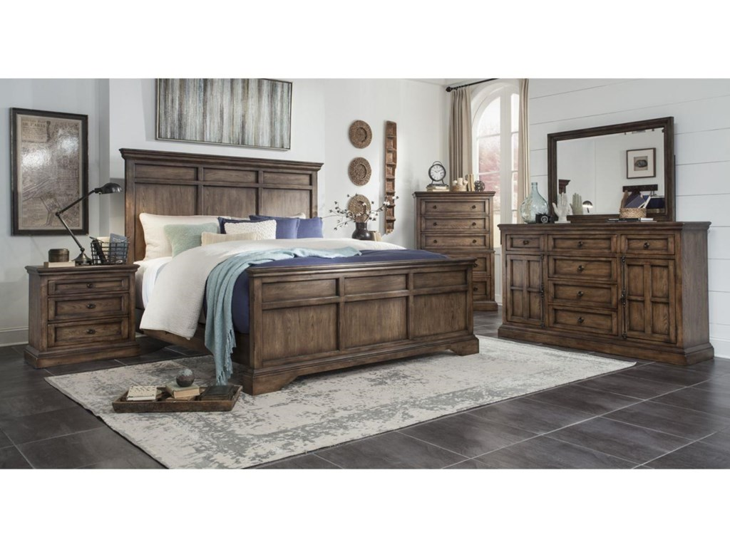 Broyhill Furniture Pike Place 3 Piece Bedroom Set Includes King Bed Dresser Mirror Darvin Groups