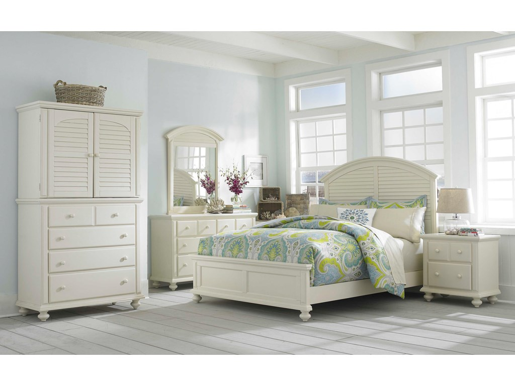 Shown with Media Hutch, Panel Bed, Nightstand, Dresser and Louvered Mirror