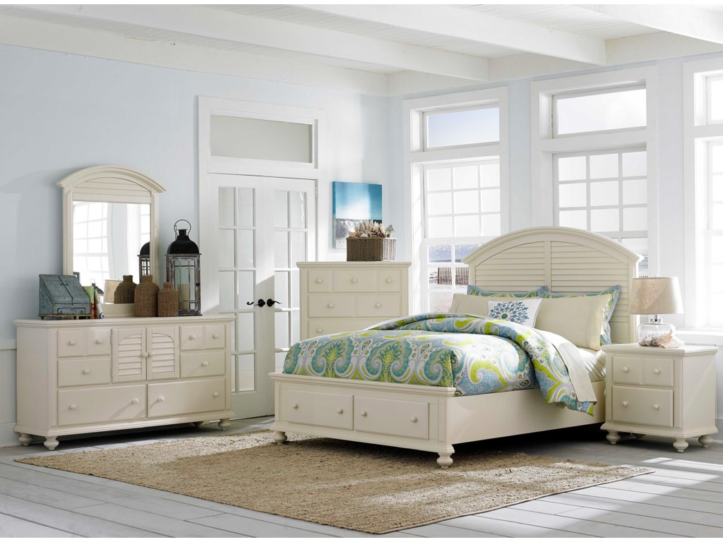 Shown with Door Dresser, Louvered Mirror, Nightstand and Panel Bed with Storage