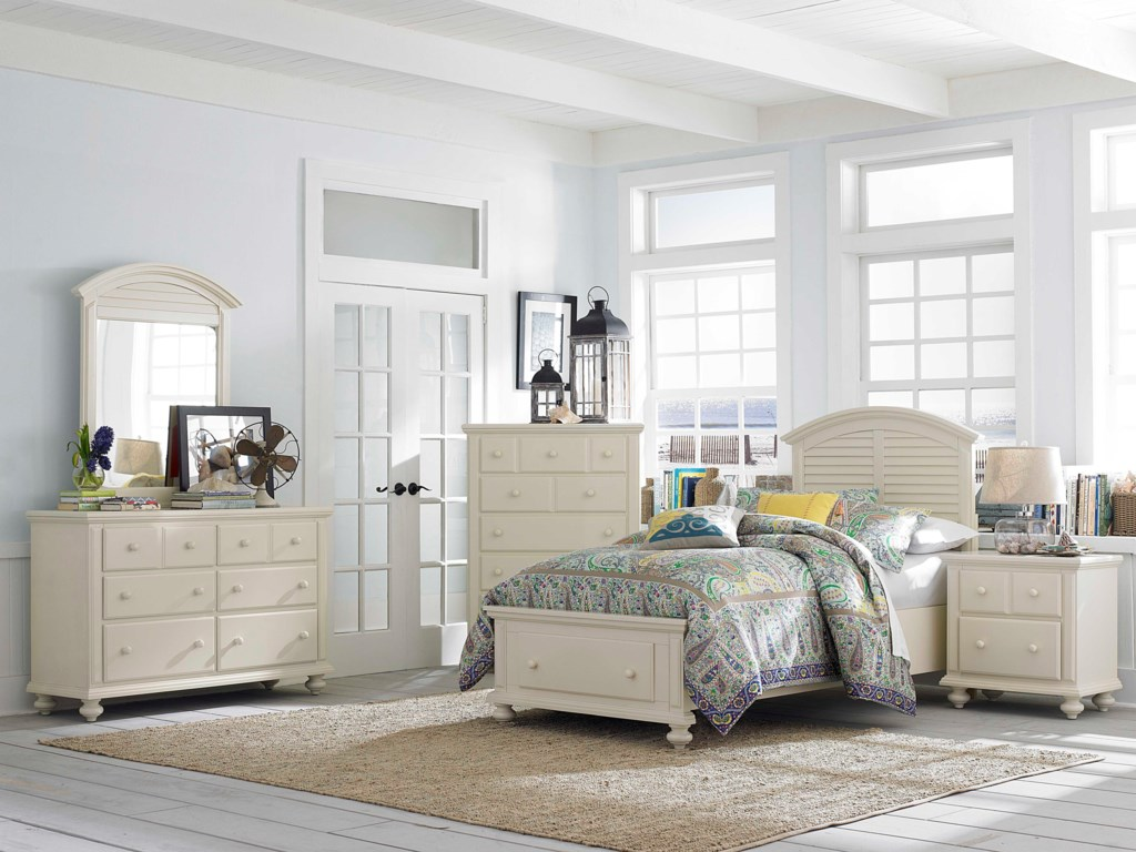 Shown with Drawer Dresser, Louvered Mirror, Nightstand and Panel Bed with Storage