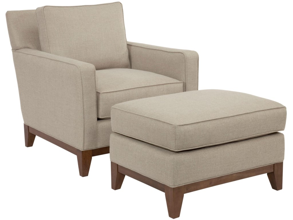 Suede Quinn Contemporary Chair And Ottoman With Wooden Base Rail By Broyhill Designed Glucksteinhome