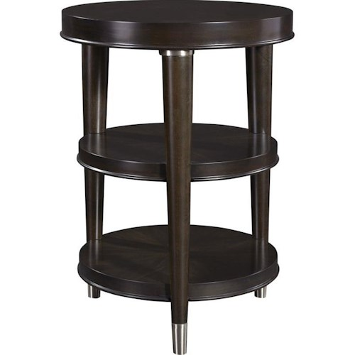 Broyhill Furniture Vibe Round Chairside Table with Two Shelves
