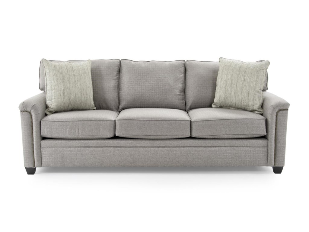 Broyhill Furniture Warren Sofa With Nailhead Trim Accents Baers - Broyhill conversation sofa leather