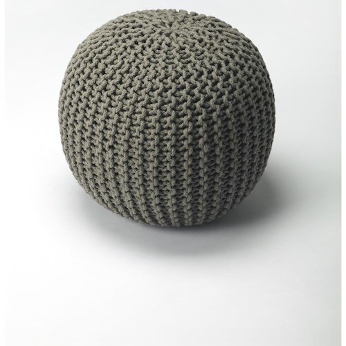 Butler Specialty Company Accent Seating Pincushion Gray Woven Pouffe